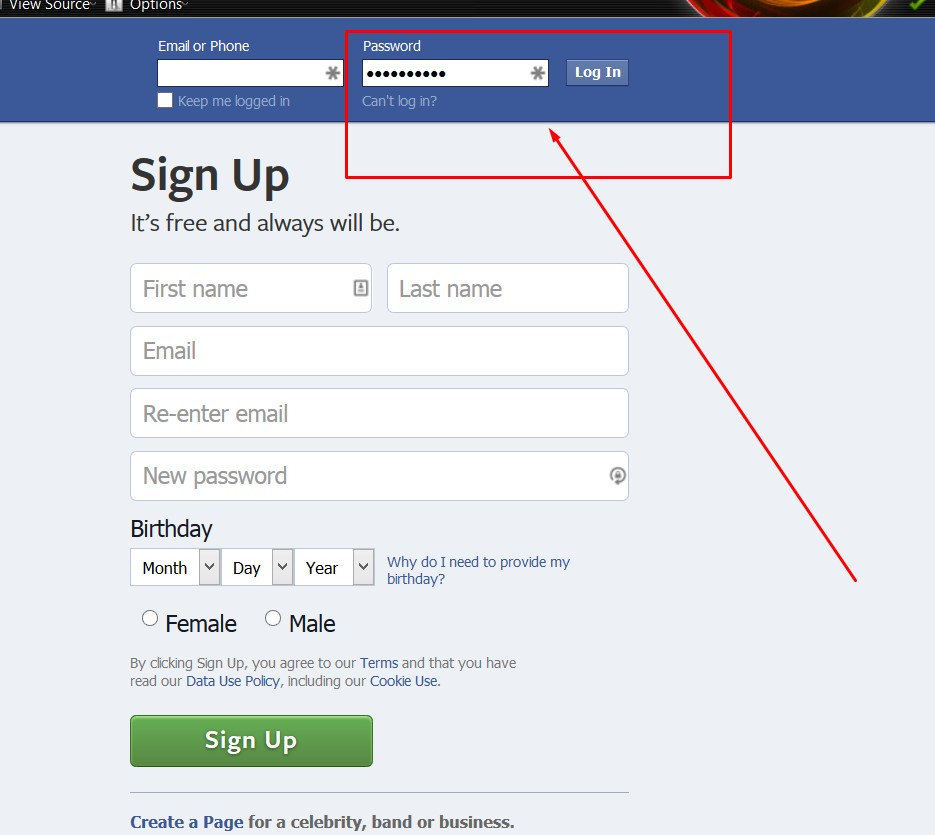 Strong password for Facebook